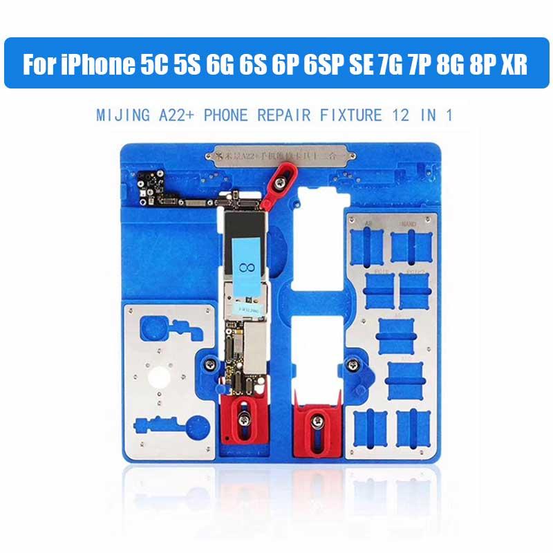 12 dans 1 A22 + Carte Logique Pinces pour iPhone 5C 5S 6g 6 s 6 p 6SP SE 7g 7 p 8g 8 p XR Mobilier Titulaire Fix Réparation Moule BGA De Réparation Outil