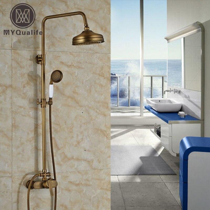 Bathroom Rainfall Shower Faucet Antique Bronze Shower Set Mixer Tap Wall Mount W/ HandshowerBathroom Rainfall Shower Faucet Antique Bronze Shower Set Mixer Tap Wall Mount W/ Handshower