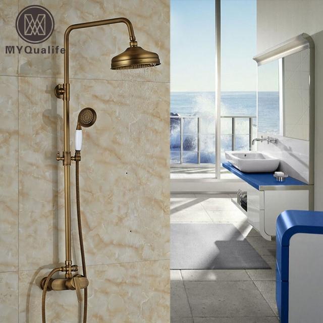 Bathroom Rainfall Shower Faucet Antique Bronze Set Mixer Tap Wall Mount W Handshower