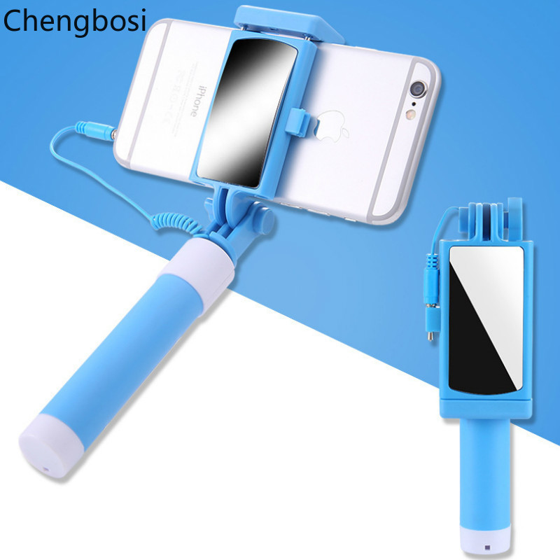 Universal Selfie Sticks with Mirror Extendable Travel Handheld Self Timer Pole Artifact Palo Selfi Monopod for IPhone Samsung in Selfie Sticks from Consumer Electronics