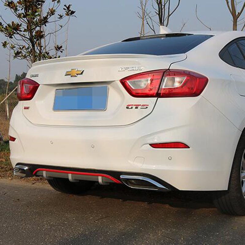 For Cruze Rear spoiler ABS Rear Bumper Diffuser Bumpers Protector For Chevrolet cruze 2017 After chrome lip rear spoiler carbon firber frp rear diffuser lip spoiler protector exterior for bmw f30 m sport bumper 2012 2017 single exhaust two outlet