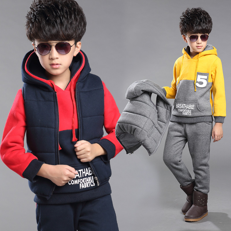 ФОТО three pieces/set! 2016 new sports winter boys clothing suit for 2-13 year with 5 word patterns quality kids clothes a 26135