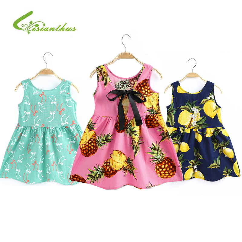 Girls Clothing Summer Girl Dress Children Kids Print Princess Dress Back V Dress Girls Cotton Kids Vest dress Children Clothes средство чистящее synergetic для плит 500 мл