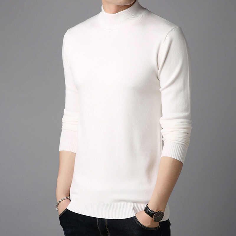 2018 秋冬新着スリムフィット暖かいセーターカシミヤウールセーターハーフタートルネックプルオーバー男性ブランド服 BDK1522