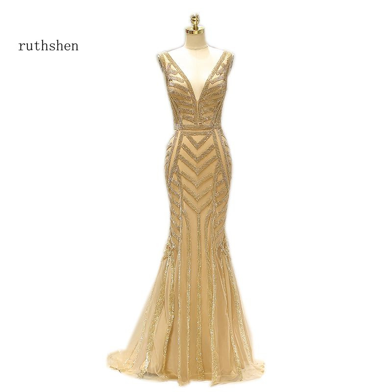 ruthshen 2018 Sexy Deep V-Neck Diamonds Long Gold Formal   Evening   Gowns Robes De Soiree Prom   Dress     Evening     Dresses   Mermaid Style