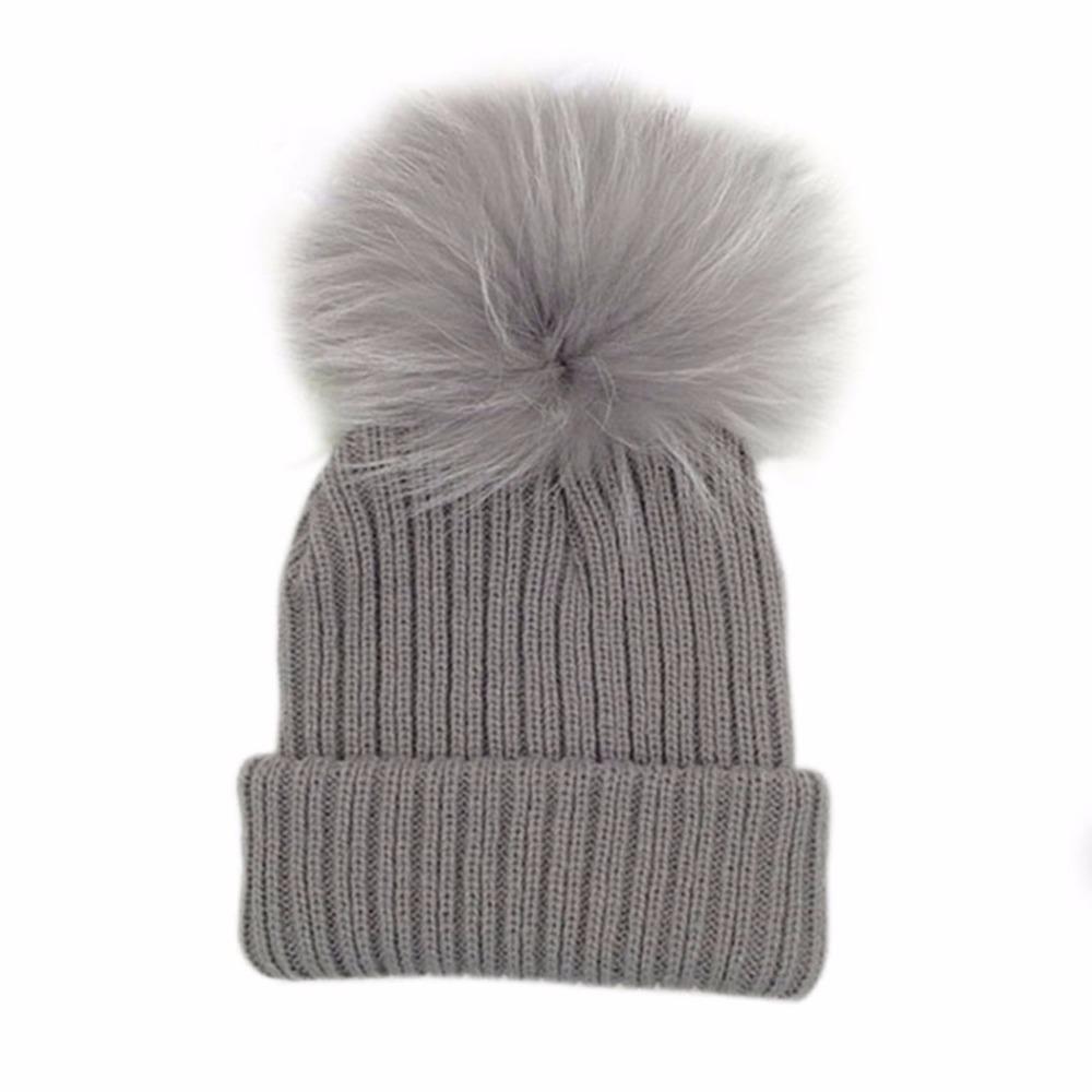 Winter Warm Knitted Bobble Baby Fur Pompom Hat Children Kids Girls Boys Pom Pom Beanie Real Raccoon Fur Pompon Bonnet Hat Cap warm winter fun cos baby hat for girls and boys with real raccoon fur pom pom hat kids size 42 52cm