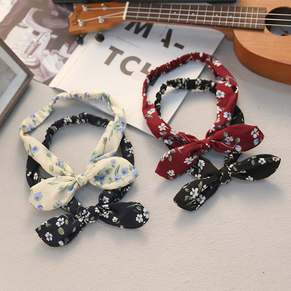 Chiffon Hair Band Korean Bow Knotted Rabbit Women Flower Print Headband Nylon Elastic Black Wind Red Hair Accessories 2018