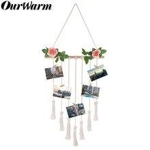 OurWarm Wedding Photo Display Frame Hanging Wedding Decoration Macrame Wall Hanging Decor Photo Display For Birthday Baby Shower