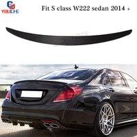W222 углеродного волокна задний спойлер крыло багажник загрузки крышкой для Mercedes s класса 4 Двери Седан 2014 подарок s350 S400 S500 S600 S63