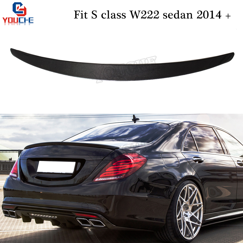 W222 Carbon Fiber Rear Spoiler Wing Trunk Boot Lid for Mercedes S Class 4-door Sedan 2014 - present S350 S400 S500 S600 S63 image