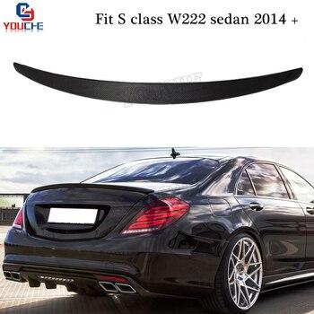 W222 fibra de carbono alerón trasero alerón maletero tapa para Mercedes S clase 4-puerta sedán 2014-presente S350 S400 S500 S600 S63