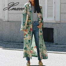 Винтажный этнический цветочный принт с поясом кимоно рубашка для женщин Модный Кардиган Повседневная Блузка Топы