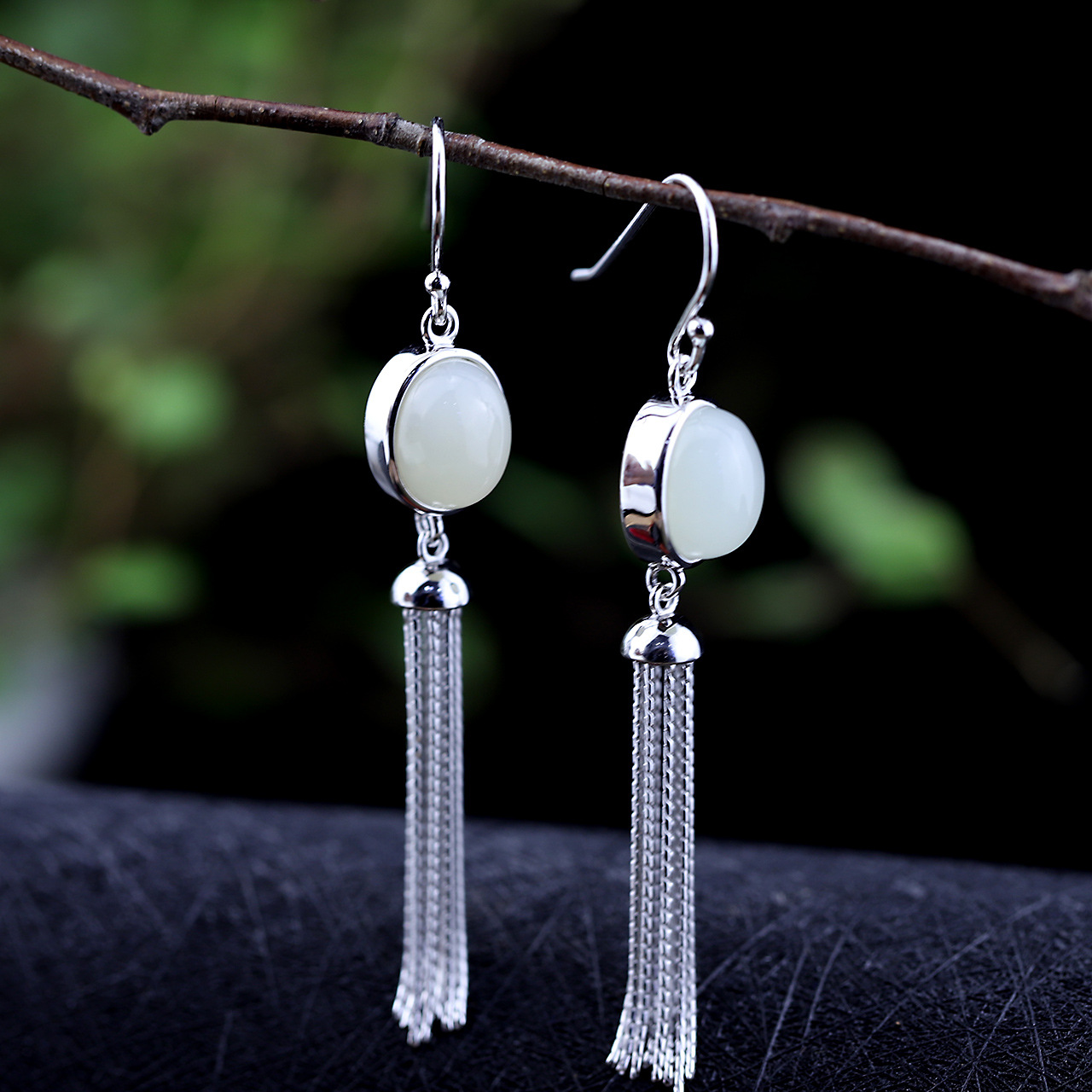 Character Silver Design, S925 Silver Jewelry, Earrings Wholesale, Folk Style Lady Tassel And Tin Jade Earrings. the character of silver s925 silver jewelry fashion exquisite lady earrings blue sandstone section