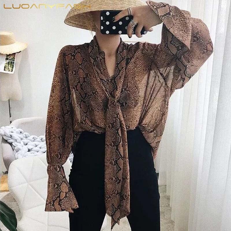 Luoanyfash nœud col chemise imprimer Serpentine haut pour femme à manches longues haute qualité Blouse 2018 nouveau automne mode vêtements