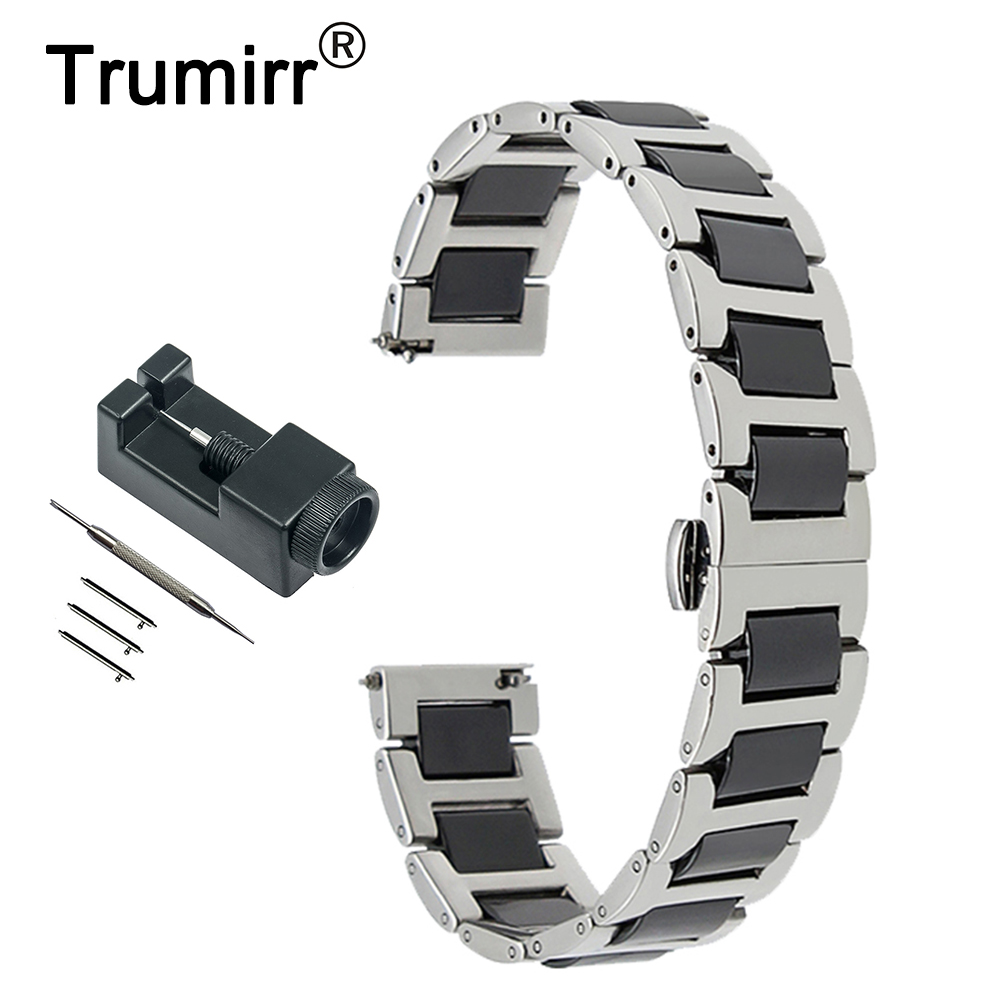 18mm 20mm 22mm Ceramic + Stainless Steel Watch Band for Fossil Butterfly Buckle Strap Quick Release Wrist Belt Bracelet + Tool stainless steel watch band 18mm 20mm 22mm for fossil curved end strap butterfly buckle belt wrist bracelet black gold silver