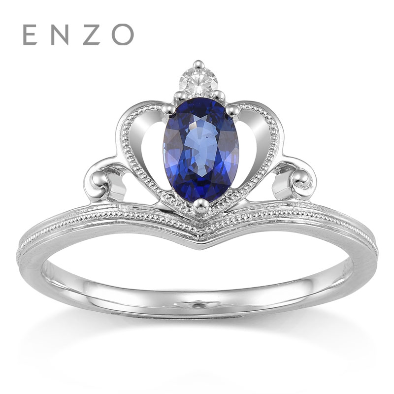 6222cc4eb2366d ENZO Row Ring 0.5Ct Sapphire Ring With 0.03CT Diamond 18K White Gold New  Luxury Gift For Women Master Gemstone Brand