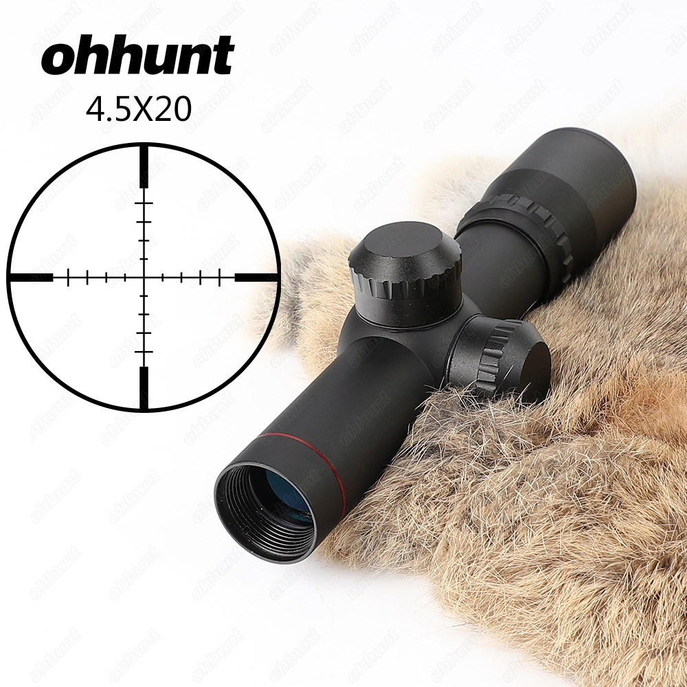 ohhunt 4 5x20 1 inch Compact Hunting Rifle Scope Tactical Optical Sight P4 Glass Etched Reticle