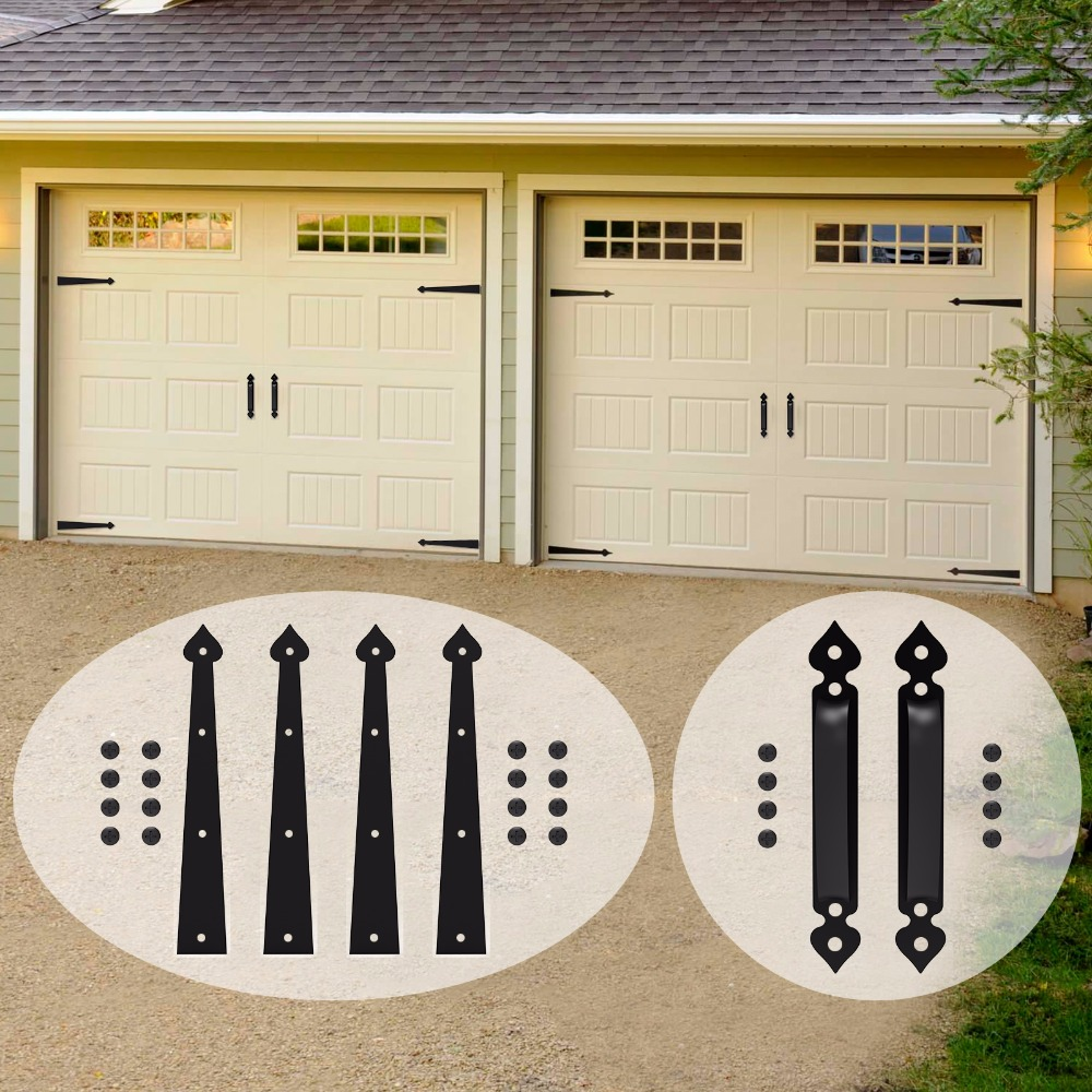 Us 42 09 30 Off Lwzh Decorative Carriage House Garage Handle Hinge Accent Set Sliding Barn Door Hardware Kit Heart Style 2 Handles 4 Hinges In