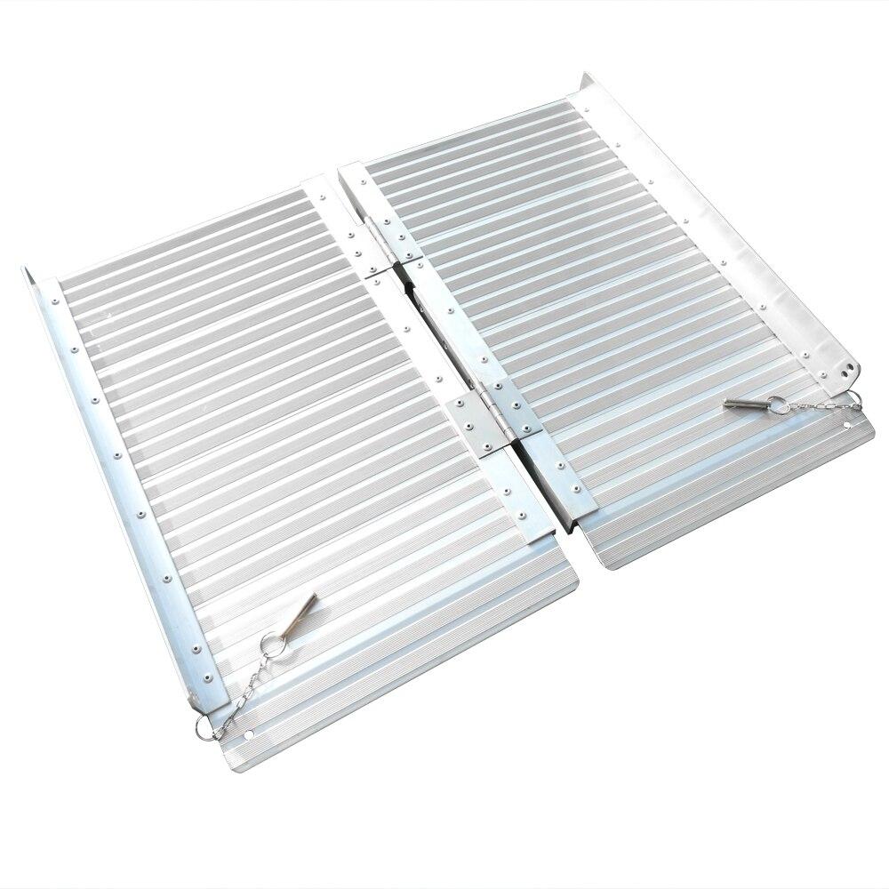 2 Ft Home Corridor Aluminum Alloy Folding Ramp Silver-US Stock