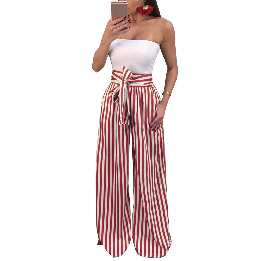 2019 Spring Autumn Women   Wide     Leg     Pants   Contrast Striped   Pant   High Waist Straight Pantalon Femme Bow Tie Casual Trousers female
