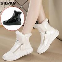 SWYIVY Winter Warm Shoes Woman White Sneakers High Top Zipper 2019 Winter Velvet Fur Lady Casual Shoes Black Sneakers Platform