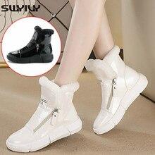 SWYIVY invierno cálido zapatos de mujer Zapatos blanco zapatillas de deporte de alta Top con cremallera invierno 2019 forro de terciopelo dama Casual Zapatos negro zapatillas de plataforma