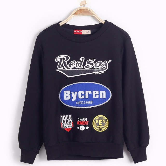 Long sleeve o neck letter stickers pattern print patches sweatshirts children kids pullover spring autumn shirts