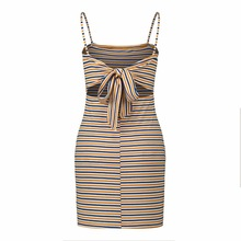 Summer Strap summer dress women Sexy color striped backless Women