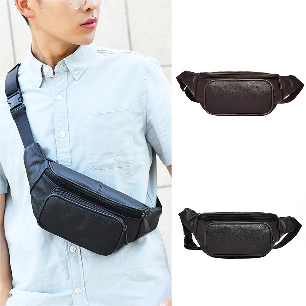 PU Leather Shoulder Waist Belt Packs Sports Men Casual Crossbody Chest Bag Purse