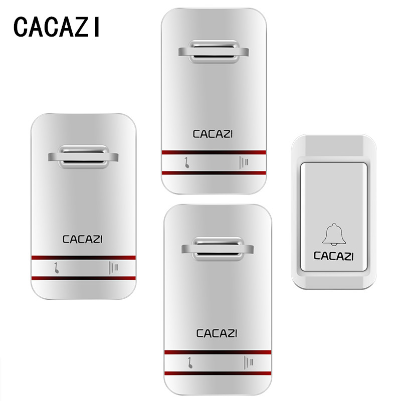 CACAZI No Need Battery Waterproof Wireless Cordless Digital Doorbell Remote Door Bell Chime Waterproof Doorbell With 3 Receivers wireless cordless digital doorbell remote door bell chime waterproof eu us uk au plug 110 220v