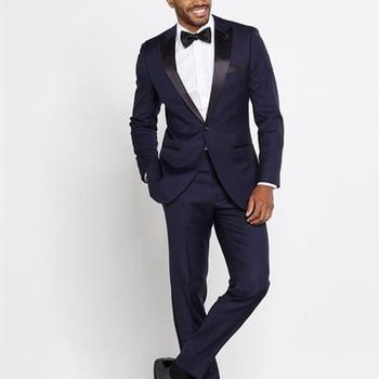 NoEnName_Null 2017 Navy Blue Men Wedding Suits Custom Made Slim Fit Wedding Groom Tuxedos For Men Groomsman Best Man Suit Jacket