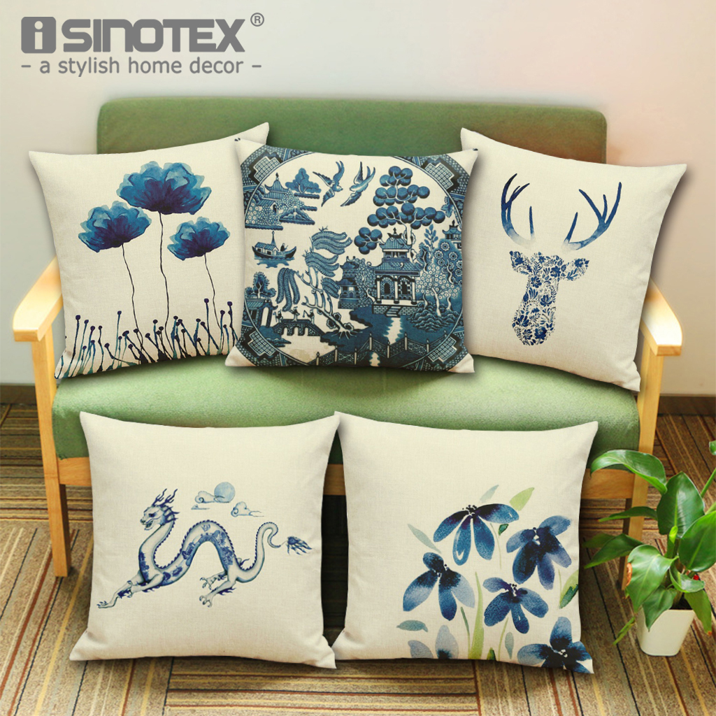 Elk Lotus Dragon Printed Cushion Cover Throw Pillowcase Animal Decorative Pillow Cover Waist Sofa Bed Chair Home Artistic Decor