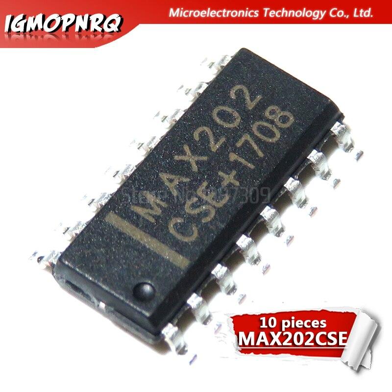 10pcs MAX202CSE MAX202 CSE SOP-16 RS-232 Interface IC 5V RS-232 Tcvr w/0.1 uF Externo cap novo original