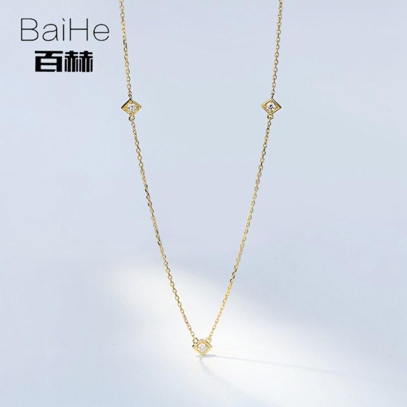 BAIHE 18 K Ouro Amarelo Sólido 0.09CT Certified H/SI Genuína Natural Diamantes corte Redondo Mulheres Fine Jewelry Moda colares elegantes