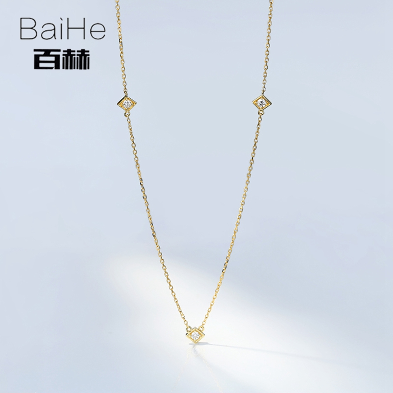 BAIHE Solide 18 K Jaune Or 0.09CT Certified H/SI Véritable Naturel Diamants Round cut Femmes À La Mode Fine Jewelry élégant Colliers