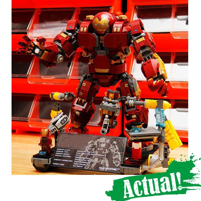 цена на 1527Pcs Lepin 07101 Super Genuine Heroes 76105 Iron Man Anti Hulk Mech Toy Building Bricks Blocks Model AVENGERS Infinity War