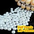 1.5 mm ~ 25 mm todo o tamanho escolha puro branco cor plano de volta ABS rodada meio grânulos da pérola, Imitação de plástico meio grânulos da pérola