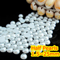 1.5mm~25mm All Size Choice Pure White Color Flat back ABS round Half Pearl beads, imitation plastic half pearl beads