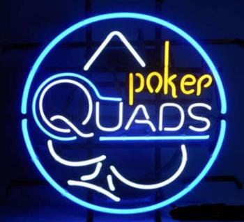 Custom QUADS POKER BLUE Glass Neon Light Sign Beer Bar