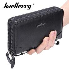 Baellery Long Wallet Men Double Zipper Coin Pocket Purse Men Wallets Casual Business Card Holder Vintage Large Wallet Clutch недорого