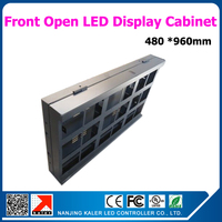 480*960mm waterproof led display cabinet for p10 160*160mm led modules front open led dsign cabinet