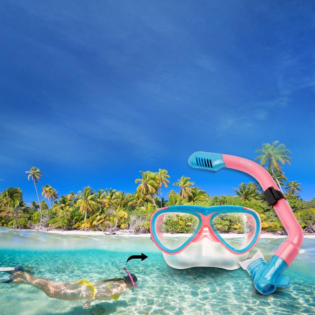 New Kids Snorkel Swimming Goggles & Diving Mask Snorkel Glasses & Flippers Set Silicone Swim Eyewear swimming mask