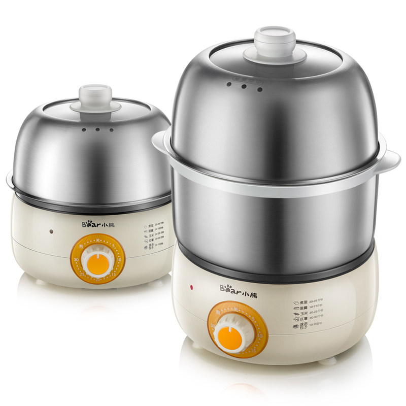 Bear Multi Cooker 360W 2 Layer Timing Stainless Steel Egg Boilers Mini Fried Eggs Pan Automatic Power-off Mini Breakfast Machine cukyi double layer multi function electric egg cooker boiler stainless steel automatic power off mini