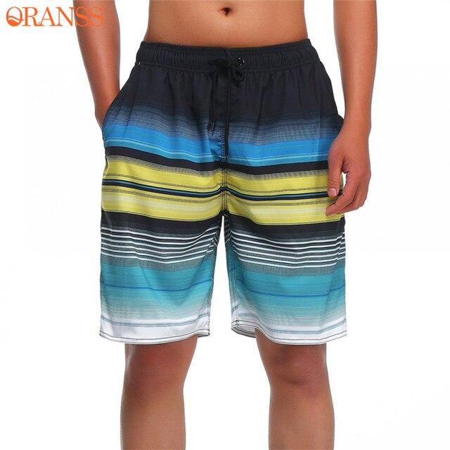 fc350e0d7e Men's Surfing Quick Dry Beach Shorts Striped Print Summer Board Shorts  Drawstring Pockets Swimming Trunks Gyms Men Shorts