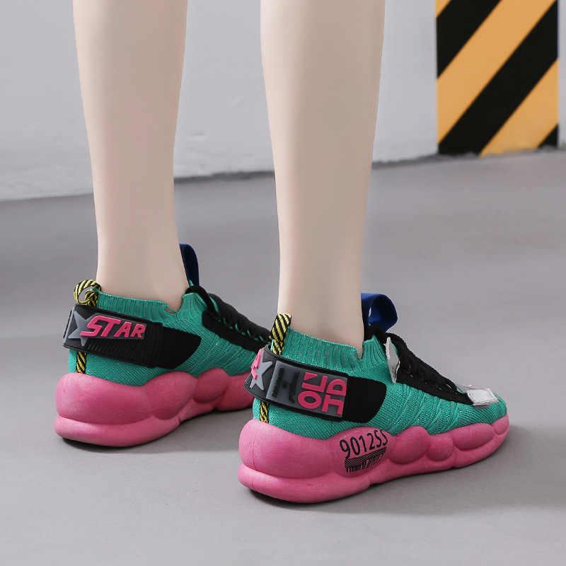 Phụ nữ Chun Giày Đế 3cm Đế Dày Dép Nữ Vulcanize Giày Web Nổi Tiếng Bố Nữ Giày thời trang Thiết Kế