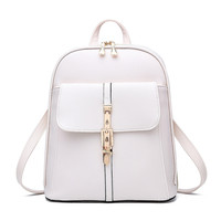 Famous Brand Backpack Women Backpacks Solid Quilting Bears Sew School Bags Bolsos Mujer White Leather Woman