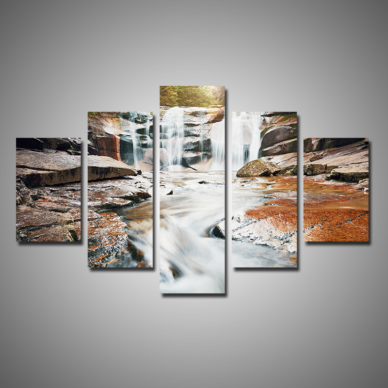 Buy modern home decor 5 pieces multi panel canvas wall art forest waterfall on Home decor wall art contemporary