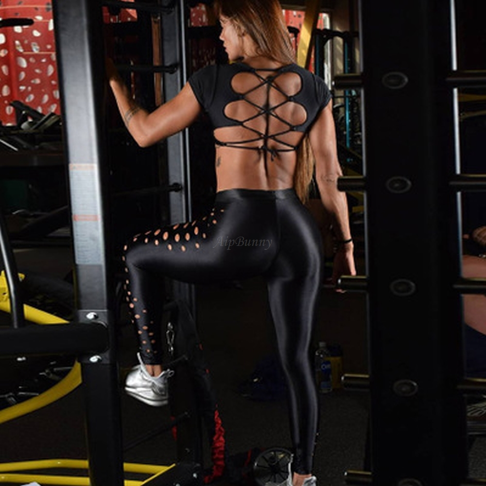 Work Out Out Sexy Running Yoga Pants Gym Women Leggins Sport Push Up High Waist Hollow Joggers Deportivas Fitness