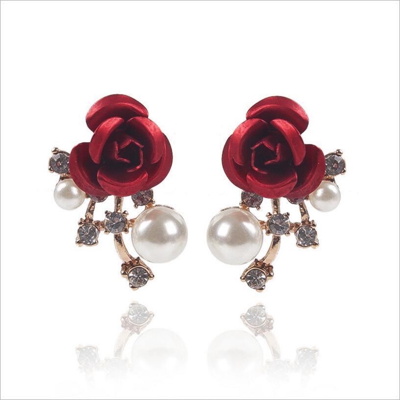 Kuziduocai New ! Fashion Fine Jewelry Pearl Metal Petal Crystal Lifelike Flowers Rose Stud Earrings For Women Ladies Gifts E-681