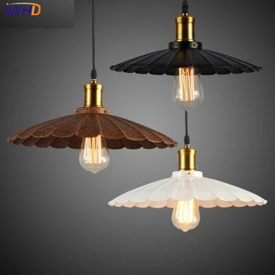 IWHD Vintage Industrial Lighting umbrella Iron Hanging Lamp Holder Pendant Light American Aisle Lights Lamp Edison Bulb 220V iwhd loft style creative retro wheels droplight edison industrial vintage pendant light fixtures iron led hanging lamp lighting